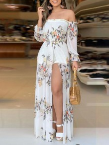 White Floral Off Shoulder Bohemian Beach Short Jumpsuit With Maxi Overlay Maxi Dress