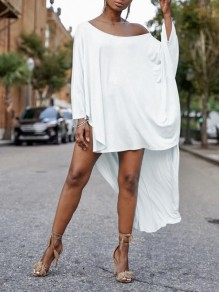 White One Off Shoulder Irregular High-Low Dolman Sleeve Casual Maxi Dress