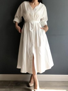 White Sashes Pockets 3/4 Sleeve Deep V-neck Vintage Elegant Party Maxi Dress