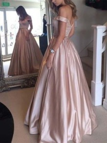 Champagne Backless Off Shoulder Flowy Party Going out Sweet Maxi Dress