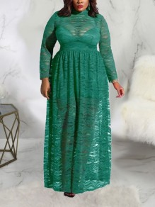Green Patchwork Lace Pleated Sheer Plus Size Party Maxi Dress