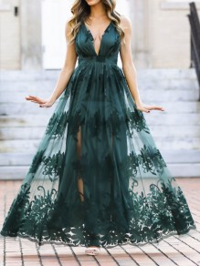 Army Green Patchwork Grenadine Floral Spaghetti Strap Backless V-neck Prom Evening Party Maxi Dress