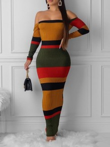 Yellow Rainbow Striped Off Shoulder Backless Bodycon Party Maxi Dress