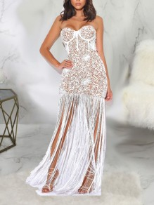 White Patchwork Lace Off Shoulder Tassel Bodycon Party Maxi Dress