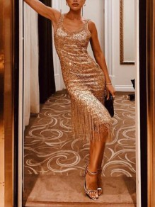 Golden Patchwork Sequin Tassel Spaghetti Strap Sparkly NYE Banquet Party Maxi Dress