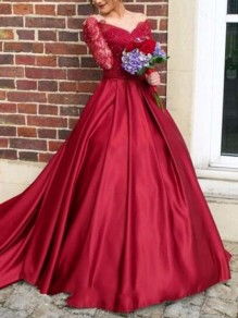 Red Patchwork Lace Off Shoulder Backless Long Sleeve Wedding Banquet Party Maxi Dress