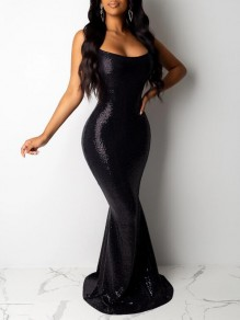 Black Sequin Spaghetti Strap Backless Mermaid Sparkly Banquet Party Maxi Dress