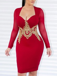 Red Patchwork Lace Bodycon V-neck Party Maxi Dress