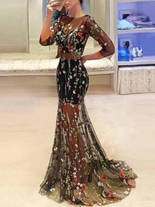 Black Patchwork Grenadine Embroidery Backless Mermaid 3/4 Sleeve Banquet Party Maxi Dress