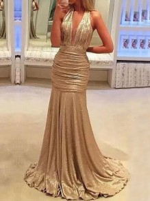 Rose Gold Pleated Deep V-neck Mermaid Bronzing Sparkly Banquet NYE Party Maxi Dress