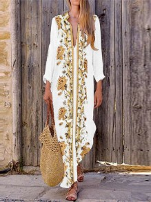 White Floral V-neck Long Sleeve Mexico Party Maxi Dress