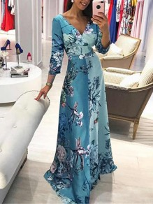 Blue Floral Pattern V-neck Three Quarter Length Sleeve Fashion Maxi Dress