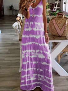 Purple Patchwork Print One Piece Ttrendy Going out Maxi Dress