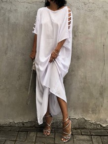 White Patchwork Cut Out Round Neck Elbow Sleeve Fashion Maxi T-Shirt Dress