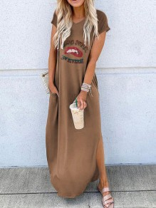 Khaki Letter Print Red Lips Going Out Maxi Dress