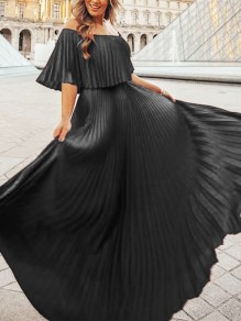 Black Patchwork Pleated Chiffon Boat Neck Fashion Elegant Maxi Dress