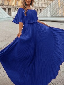 Blue Patchwork Pleated Chiffon Boat Neck Fashion Elegant Maxi Dress