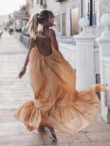 Yellow Patchwork Draped Ruffle Backless Sleeveless Bohemian Maxi Dress