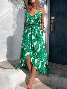 Green Leaves Pattern Irregular Slit V-neck Sleeveless Maxi Dress