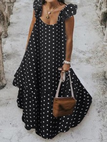 Black-White Polka Dot Ruffle Square Neck Big Swing Holiday Bohemian Maxi Dress