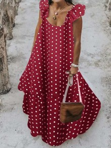 Red-White Polka Dot Ruffle Square Neck Big Swing Holiday Bohemian Maxi Dress