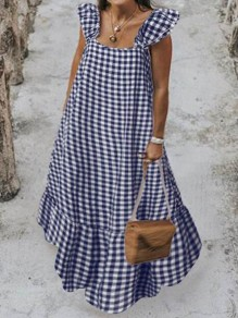 Blue-White Plaid Pattern Ruffle Square Neck Big Swing Holiday Bohemian Maxi Dress