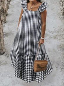 Black-White Plaid Pattern Ruffle Square Neck Big Swing Holiday Bohemian Maxi Dress