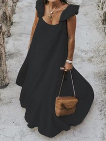 Black Ruffle Square Neck Big Swing Holiday Bohemian Maxi Dress