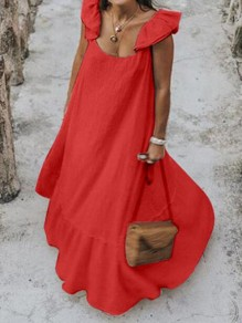 Red Ruffle Square Neck Big Swing Holiday Bohemian Maxi Dress