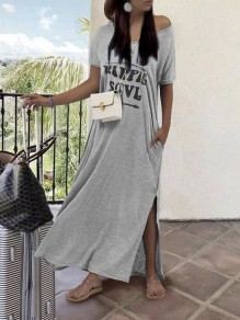Grey HIPPIE SOUL Letter Print Draped V-neck Short Sleeve Slit Oversized Lounge Wear Maxi Dress