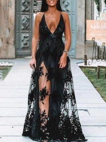 Black Patchwork Embroidery Grenadine V-neck Sleeveless Fashion Maxi Dress