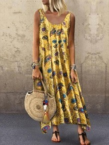 Yellow Blue Floral Flowy Boutique Holiday Bohemian Maxi Dress