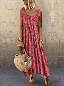 Red Blue Floral Flowy Boutique Holiday Bohemian Maxi Dress