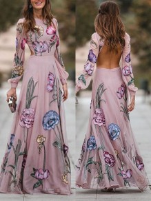 Pink Floral Print Backless Round Neck Lantern Long Sleeve Fashion Elegant Prom Maxi Dress