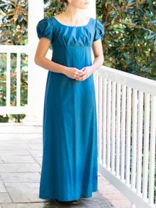 Blue Patchwork Draped Buttons Short Sleeve Fashion Maxi Dress