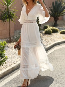 White Lace V-neck Short Sleeve Chiffon Elegant Maxi Dress