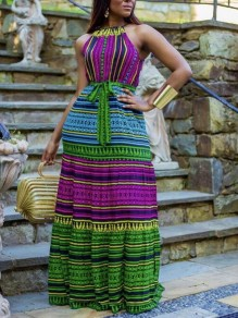 Green-Purple Striped Spaghetti Strap Halter Neck Sashes Jamaica Vintage Maxi Dress