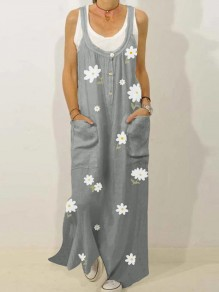 Grey Floral Print Pockets Overall Skirt Fashion Maxi Dress