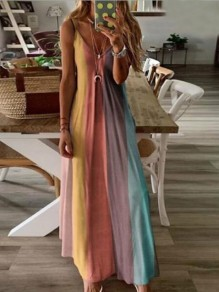 Orange Color Block Draped Spaghetti Strap Big Swing Bohemian Maxi Dress
