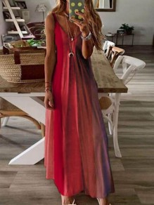 Red Gradient Draped Spaghetti Strap Big Swing Bohemian Maxi Dress