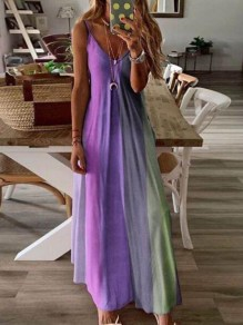 Purple Gradient Draped Spaghetti Strap Big Swing Bohemian Maxi Dress