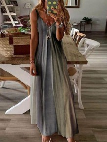 Grey Color Block Draped Spaghetti Strap Big Swing Bohemian Maxi Dress
