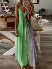 Green Color Block Draped Spaghetti Strap Big Swing Bohemian Maxi Dress