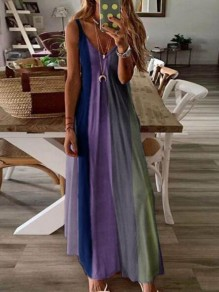 Navy Blue Color Block Draped Spaghetti Strap Big Swing Bohemian Maxi Dress