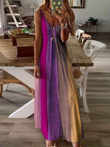 Rose Carmine Color Block Draped Spaghetti Strap Big Swing Bohemian Maxi Dress