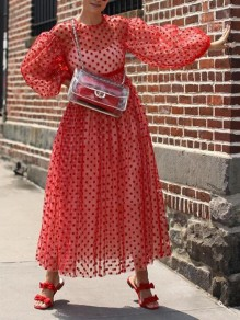 Red Polka Dot Grenadine Lantern Sleeve Flowy Big Swing Bohemian Maxi Dress