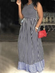Black-Blue Striped Pockets Ruffle Sleeveless High Waisted Casual Maxi Dress