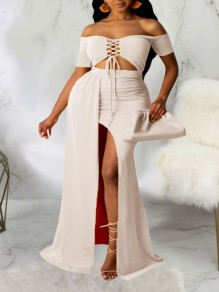 White Off Shoulder Lace-up Two Piece Thigh High Side Slits Bohemian Beach Party Maxi Dress