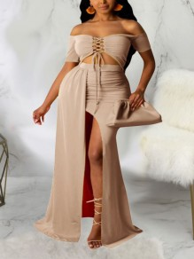 Dark Khaki Off Shoulder Lace-up Two Piece Thigh High Side Slits Bohemian Beach Party Maxi Dress