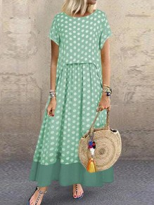 Green-White Polka Dot Draped Two Piece Flowy Big Swing Bohemian Maxi Dress